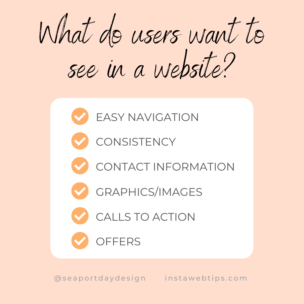 What do users want to see in a website?